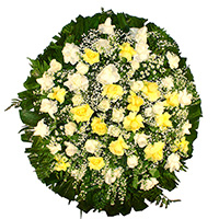 Funerária - Coroa de Flores Delicada Amarela