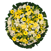 Funerária - Coroa de Flores Luxo Amarela
