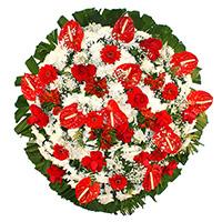 Funerária - Coroa de Flores Luxo Vermelha