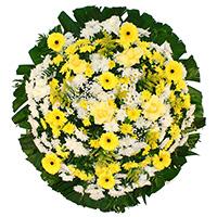 Funerária - Coroa de Flores Tradicional Amarela