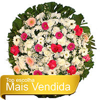 Funerária - Coroa de Flores Tradicional Rosa